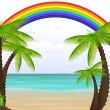 Palm Tree Exotic Rainbow Beach — Stock Vector