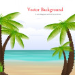 Palm Tree On Exotic Scenic Background - Stock Vector