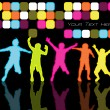 Kids Dancing In Disco Lights - Stock vektor