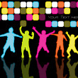 Kids Dancing In Disco Lights - Stock Vector
