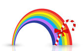 Rainbow with Candy Stick — Stock Vector