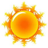 Illustrazione di sole caldo arancione — Vettoriale Stock