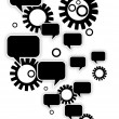 Retro Speech Bubbles and Gears — Stock Vector
