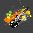 Music Guitar on Colorful Splashes - Stock Vector