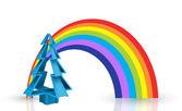 3D Christmas Tree With Rainbow — Stock Vector