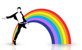 Happy Boy Jumping In Front Of Rainbow — Stock Vector