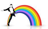 Lycklig pojke hoppar framför rainbow — Stockvektor