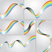 Swirly regenboog strepen collectie — Stockvector