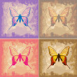 Butterflies on Paper Texture Background — Stock Vector #7184551