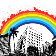 Splashy Rainbow on Urban Skyline - Imagen vectorial