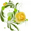 Beautiful Yellow Roses on Green Swirl Element — Stock Vector