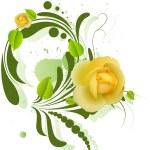 Beautiful Yellow Roses on Green Swirl Element — Stock Vector