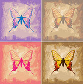 Butterflies on Paper Texture Background — Stock Vector