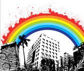 Splashy arco-íris no horizonte urbano — Vetor de Stock