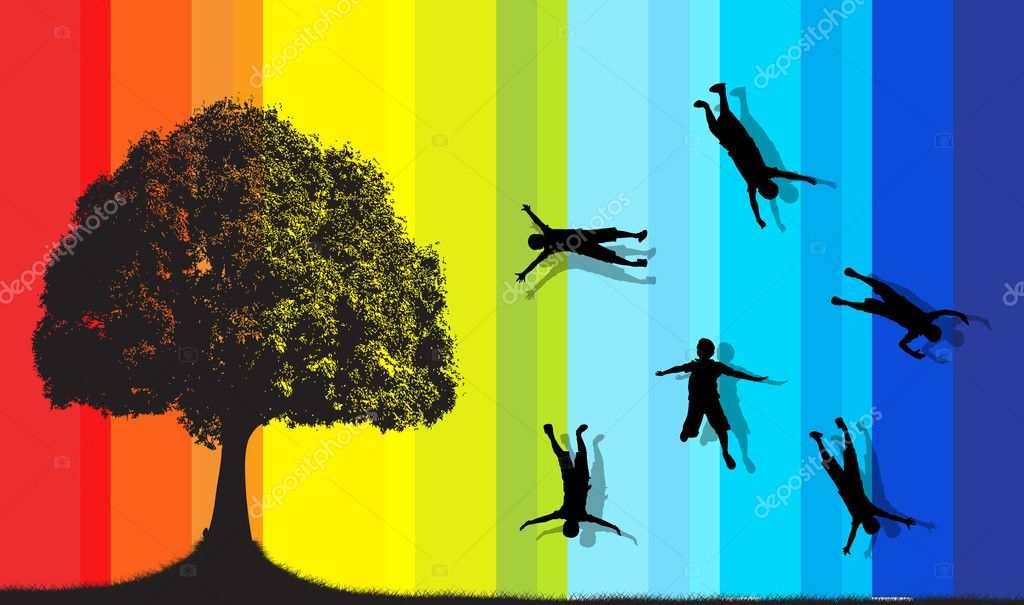 Concept of Kids Shapes Falling on Isolated Tree Colorful Background  Stock Vector #7185895