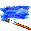 Blue Strokes and Paint Brush — Stock Vector