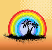 Rainbow Over a Palm Tree Shape — Stock Vector
