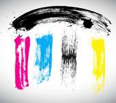 старинный дизайн цветных мазков кисти — Cтоковый вектор