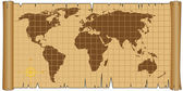 World Map on Vintage Parchment Scroll — Stock Vector