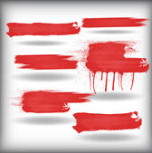 Red Color Brush Strokes — Stock Vector