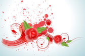 Rosa roja muelle con salpicaduras — Vector de stock