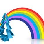 3D Christmas Tree and Rainbow Set — Stock Photo #7283030