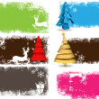 Set of Decorative Christmas Tree Background - Image vectorielle