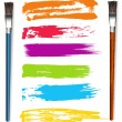 Stock Vector: Color Strokes with Paint Brushes