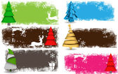 Set of Decorative Christmas Tree Background — Stock Vector