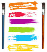 Color Strokes with Paint Brushes — Stock Vector