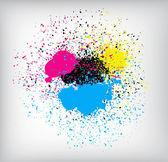 Salpicaduras de tinta colorida — Vector de stock