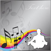 Concentrating on Music Background — Stock Vector