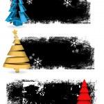 Set of Christmas Tree Banners — Stock Vector