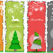 Stylish Christmas Tree Banners — Stok Vektör