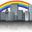 Rainbow Over the Modern City — Stock Vector