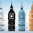 Stock Vector: Big Ben Tower Silhouettes