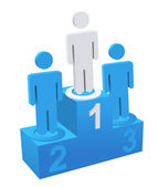 Winners Standing on Pedestal — Stock Vector