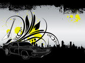 Urban Art Dark City Background — Stock Vector