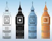 Big Ben Tower Silhouettes — Stock Vector