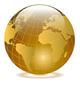 Glassy Yellow Globe — Stock Vector