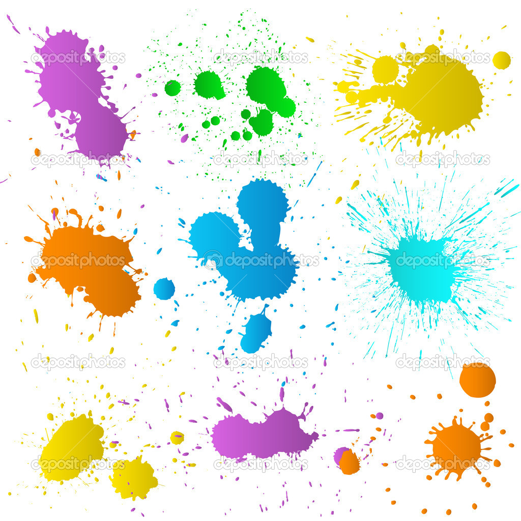 Creative Abstract Isolated Decorative Design of Beautiful Paint Color Splatter — Stock Vector #7584259