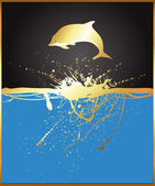 Jumping Golden Dolphin — Stock Vector