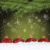 Abstract Christmas Background with Snowfall — Stock Vector