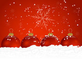 Red Christmas Balls with Snow — Stock Vector