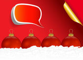 Red Christmas Ball with Speech Bubble Sticker — Stock Vector