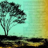 Grunge träd isolerade på grov bakgrund — Stockvektor