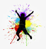 Happy Kid Jumping Shape — Stock Vector
