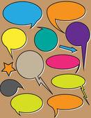 Comic Rainbow Speech Bubbles — Stock Vector