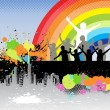 Urban Kids Rainbow Background - Stock Vector