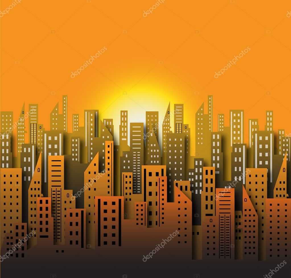 Conceptual Artistic Decor Design of Metropolis City at Sunset  Stock Vector #7753505